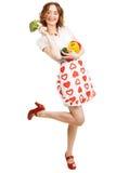 Jeune belle femme donnant un paprika Image stock