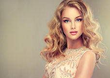 Jeune belle femme, habillée dans la robe de soirée image stock