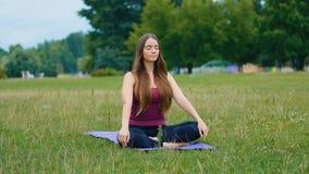 Jeune belle femme méditant pendant la formation extérieure en parc d'été elle paix se sentante Fille sportive faisant le yoga banque de vidéos