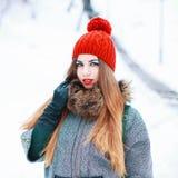 Jeune belle fille avec un chapeau et un manteau rouges dans le jour neigeux d'hiver Photo libre de droits