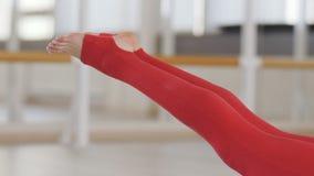 Jeune belle fille caucasienne sportive exer?ant des positions de yoga, asana indoors clips vidéos