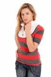Jeune belle fille comme le modèle de mode d'isolement Images stock