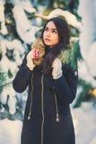 Jeune belle fille dans la forêt d'hiver Photographie stock