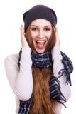 Jeune belle fille de l'hiver de Woman.Surprised Photos stock