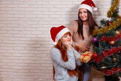 Jeune belle fille faisant la surprise pour son ami Portrait de Photographie stock
