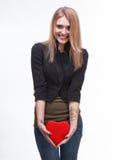 Jeune blond avec un coeur Photographie stock