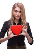 Jeune blond avec un coeur Images stock