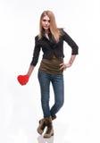 Jeune blond avec un coeur Photo stock