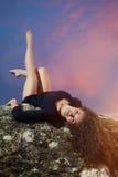 Jeune, bouclée pose de danseur Photo libre de droits