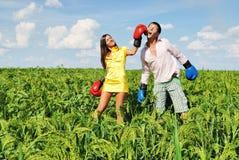 Jeune boxe de couples Photo libre de droits