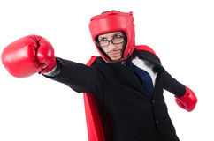 Jeune boxeur d'homme d'affaires Images stock