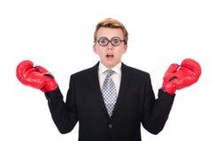 Jeune boxeur d'homme d'affaires Image stock