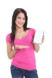Jeune brunette affichant un produit Images libres de droits