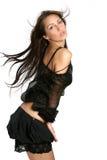 Jeune brunette d'isolement avec le long cheveu Photo stock