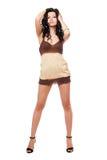 Jeune brunette sexy dans une robe Images libres de droits