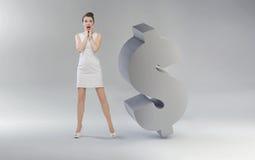 Jeune businesswoam criard à côté du dollar illustration de vecteur