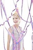Jeune célébration blonde attrayante d'adolescent Photo libre de droits