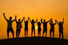 Jeune célébration diverse d'adulte réussie Image libre de droits
