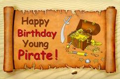 Jeune carte de pirate de joyeux anniversaire illustration de vecteur