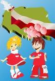 Jeune carte de Polonais à l'arrière-plan illustration stock