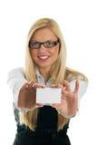Jeune carte de visite professionnelle de visite d'apparence de femmes d'affaires Photographie stock libre de droits