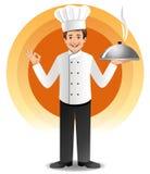 Jeune chef avec cuire la cuisine à la vapeur Photo stock