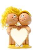 Jeune coeur d'isolement de l'espace de copie de fixation de couples de joie Images stock