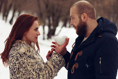 Jeune combat d'amants Images stock