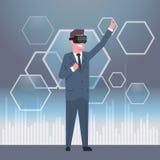 Jeune concept de casque de lunettes de réalité virtuelle en verre d'In Modern 3d d'homme d'affaires illustration de vecteur