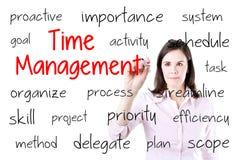 Jeune concept de gestion du temps d'écriture de femme d'affaires D'isolement sur le blanc Photo stock