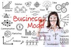 Jeune concept de modèle économique d'écriture de femme d'affaires. Images stock