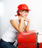 Jeune constructeur féminin photo libre de droits