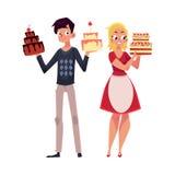 Jeune couples, parent, homme et femme tenant des gâteaux d'anniversaire Photos libres de droits