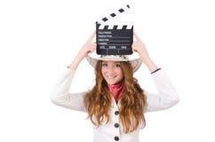 Jeune   cow-girl avec le conseil de film Photo stock