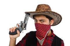 Jeune cowboy d'isolement sur le blanc Image libre de droits