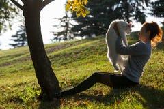 Jeune dame avec le chat de Maine Coon Images stock