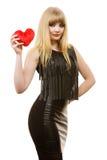 Jeune dame avec le coeur rouge Photo libre de droits
