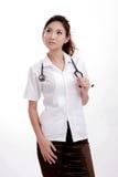 Jeune dame confiante stéthoscope s'usant de médecin Photos stock