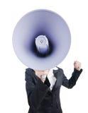 Jeune dame d'affaires avec le haut-parleur Photos stock
