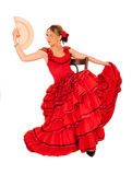 Jeune dame dans la robe rouge hispanique Photos libres de droits