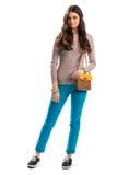 Jeune dame dans le pull beige Photo libre de droits