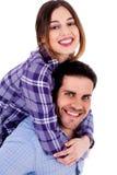 Jeune dame sur le piggyride Photo stock