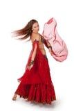 Jeune danseur de ventre dansant un virage Image libre de droits
