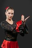 Jeune danseur espagnol de flamenco dans la pleine action Images stock