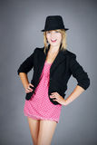 Jeune danseuse blonde Burlesque de fille Images stock