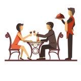 Jeune datation de couples dans le restaurant et le serveur près illustration de vecteur