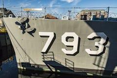 Jeune DD-793 Charlestown arsenal de la marine d'USS Cassin, Boston Image stock