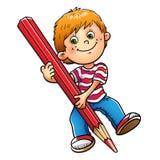 Jeune dessin de garçon avec le crayon rouge d'isolement sur le blanc illustration libre de droits