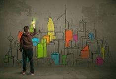 Jeune dessin urbain de peintre Images libres de droits