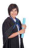 Jeune diplômé d'étudiant avec le rouleau Image libre de droits